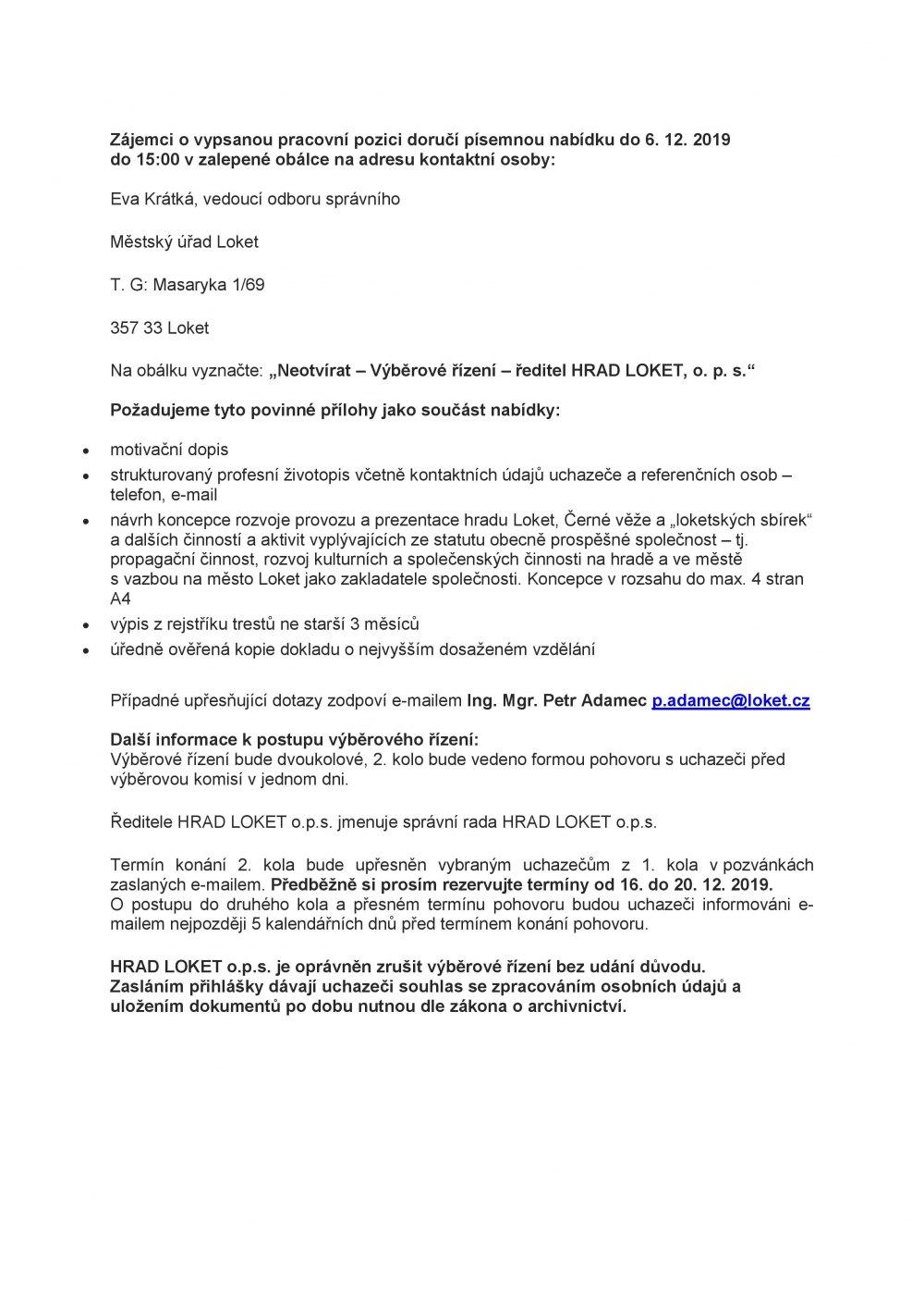 Správní rada o.p.s. HRAD LOKET vypisuje výběrové řízení na pozici ředitele obecně prospěšné společnosti HRAD LOKET o.p.s.